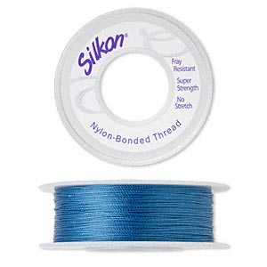 thread, silkon, bonded nylon, medium-weight #2, blue. sold per 100-yard spool.