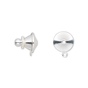 tie tac clutch, silver-plated brass, 11x10mm push-in with loop. sold per pkg of 10.