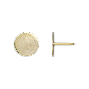 tie tac, gold-finished brass, 12mm flat round pad. sold per pkg of 100.