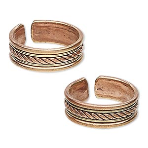 toe ring, brass and copper, 7mm wide with twisted design, adjustable. sold per pkg of 2.