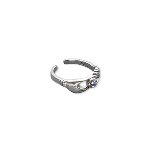 toe ring, crystal and antiqued sterling silver, violet, 4.5mm wide with claddagh, adjustable. sold individually.