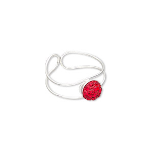 toe ring, epoxy / glass rhinestone / silver-plated brass, red, 6.5mm wide with 6mm round, adjustable. sold individually.