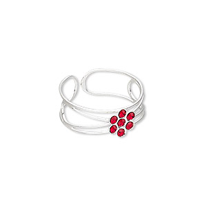 toe ring, glass rhinestone and silver-plated brass, red, 7mm wide with 7x6mm flower, adjustable. sold individually.