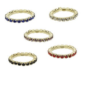 toe ring mix, stretch, glass rhinestone and gold-finished brass, mixed colors, 2.25mm wide with 1.75mm round, size 2-3. sold per pkg of 5.