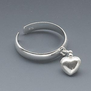 toe ring, sterling silver, 3mm wide with 6x6mm heart, adjustable. sold individually.