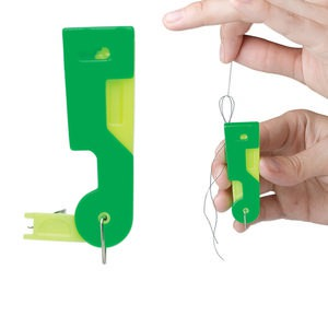 tool, easy threader needle threader, plastic and steel, green and yellow, 2-1/2 x 3/4 x 1/4 inch. sold individually.