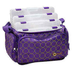 tote, plano creative  options, stow n go shoulder tote™, polyester and plastic, royal purple and avocado green, 13-1/2 x 7-3/4 x 8-1/4 inches. sold individually.