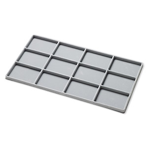 tray insert, flocked velveteen, grey, 14 x 7-3/4 x 1/2 inch rectangle with (12) 3-1/4 x 2-1/4 inch compartments. sold per pkg of 2.