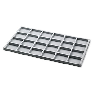 tray insert, flocked velveteen, grey, 14 x 7-3/4 x 1/2 inches with (24) 2-1/8 x 1-5/8 inch compartments. sold per pkg of 2.