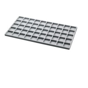 tray insert, flocked velveteen, grey, 14 x 7-3/4 x 1/2 inches with (50) 1-1/4 x 1-1/4 inch compartments. sold per pkg of 2.