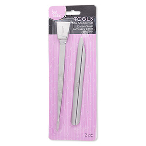 tweezers and bead scoop, stainless steel, 6-1/2 inches and 6 x 1/2 inches. sold per 2-piece set.