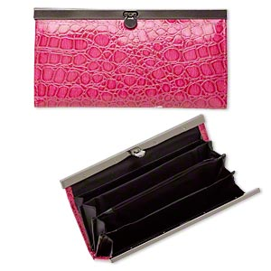 wallet, polyurethane / nylon / gunmetal-finished steel, pink / black / grey, 7-1/2 x 4-inch rectangle with alligator skin design. sold individually.