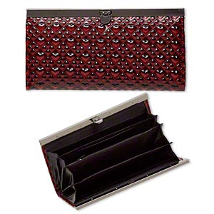 wallet, polyurethane / nylon / gunmetal-finished steel, red / black / grey, 7-1/2x4-inch rectangle with raised heart design. sold individually.