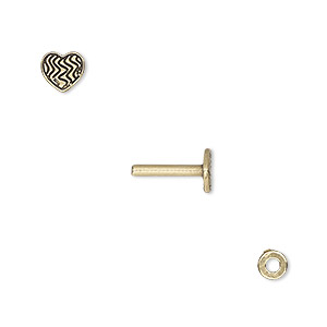washer and brad, antiqued brass, 4x0.7mm and 10x6mm with 6x5mm heart with line design and 1.5mm post. sold per pkg of (2) 2-piece sets.