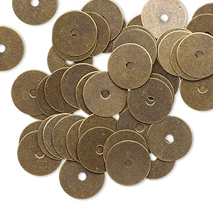 washer, brass, 9.5mm double-sided flat round blank with 1.5mm hole. sold per pkg of 50.