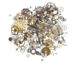 watch component mix, mixed metal, 0.5-30mm mixed shape. sold per 1-ounce pkg, approximately 40-240 pieces.