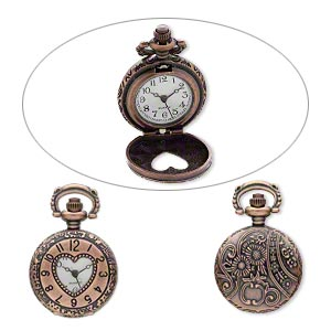 watch face, antique copper-plated pewter (zinc-based alloy), white and black, 41x27mm pocket watch with numbers /  heart-shaped window / flower and swirl design. sold individually.