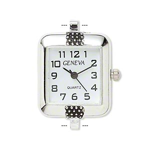 watch face, antique silver-plated brass / steel / aluminum, white and black, 32x22mm rectangle with 2 loops. sold individually.
