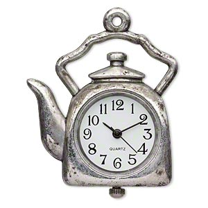 watch face, stainless steel and antique silver-plated pewter (zinc-based alloy), white and black, 34x34mm single-sided tea kettle. sold individually.