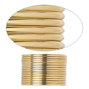 wire, 12kt gold-filled, dead-soft, half-round, 16 gauge. sold per pkg of 5 feet.