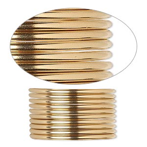 wire, 12kt gold-filled, dead-soft, round, 14 gauge. sold per pkg of 5 feet.