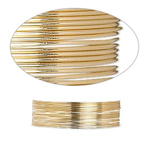 wire, 12kt gold-filled, dead-soft, round, 24 gauge. sold per pkg of 25 feet.