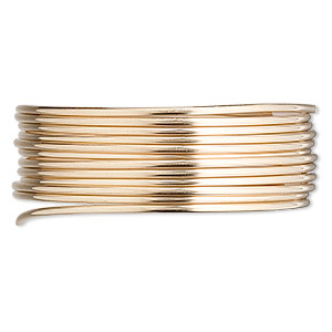 wire, 12kt gold-filled, full-hard, round, 16 gauge. sold per pkg of 5 feet.