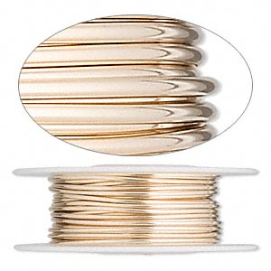 wire, 12kt gold-filled, full-hard, round, 18 gauge. sold per pkg of 25 feet.