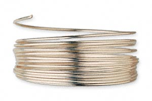 wire, 12kt gold-filled, full-hard, round, 22 gauge. sold per pkg of 5 feet.