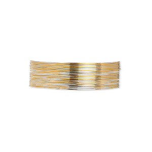 wire, 12kt gold-filled, full-hard, round, 24 gauge. sold per pkg of 5 feet.