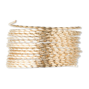 wire, 12kt gold-filled, full-hard, twisted round, 19 gauge. sold per pkg of 5 feet.