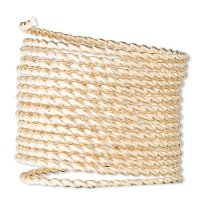 wire, 12kt gold-filled, full-hard, twisted square, 14 gauge. sold per pkg of 5 feet.