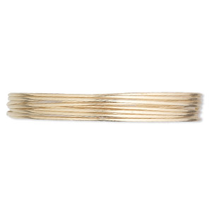 wire, 12kt gold-filled, half-hard, half-round, 20 gauge. sold per pkg of 5 feet.