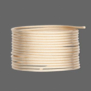 wire, 12kt gold-filled, half-hard round, 16 gauge. sold per pkg of 5 feet.
