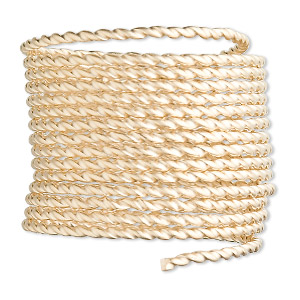 wire, 12kt gold-filled, half-hard, twisted round, 13.5 gauge. sold per pkg of 5 feet.