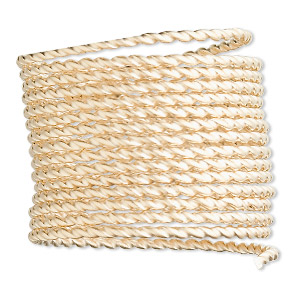 wire, 12kt gold-filled, half-hard, twisted square, 14 gauge. sold per pkg of 5 feet.