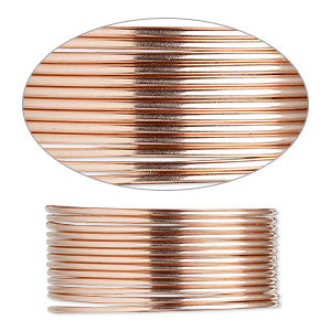 wire, 12kt rose gold-filled, half-hard, round, 18 gauge. sold per pkg of 25 feet.
