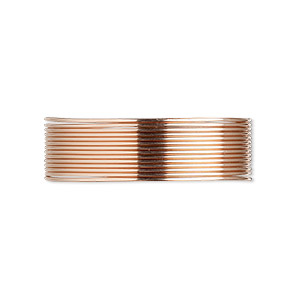 wire, 12kt rose gold-filled, half-hard, round, 22 gauge. sold per pkg of 5 feet.