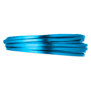 wire, anodized aluminum, blue, 4x1.2mm flat, 16 gauge. sold per pkg of 18 feet.