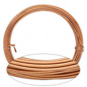 wire, anodized aluminum, copper, 1.5mm round, 14 gauge. sold per pkg of 45 feet.