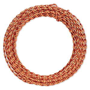 wire, anodized aluminum, copper, 3mm twisted, 16 gauge. sold per pkg of 10 meters.
