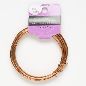 wire, anodized aluminum, copper, round, 16 gauge. sold per pkg of 5 yards.