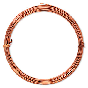 wire, anodized aluminum, orange copper, 1.25mm round, 16 gauge. sold per pkg of 45 feet.