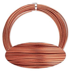 wire, anodized aluminum, orange copper, textured round with crosshatch pattern, 12 gauge. sold per pkg of 45 feet.