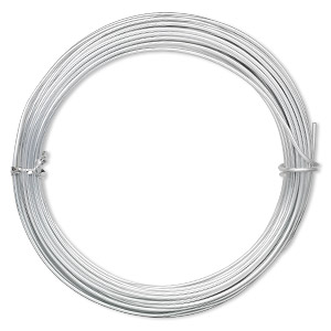 wire, anodized aluminum, silver, 2mm round, 12 gauge. sold per pkg of 45 feet.