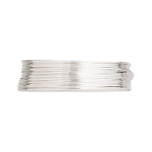 wire, argentium silver, dead-soft, round, 22 gauge. sold per pkg of 5 feet.
