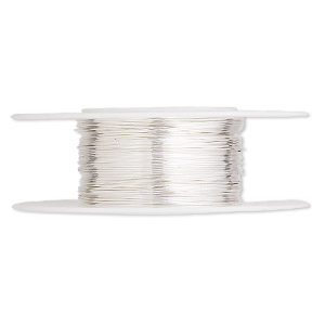 wire, argentium silver, dead-soft, round, 26 gauge. sold per pkg of 5 feet.