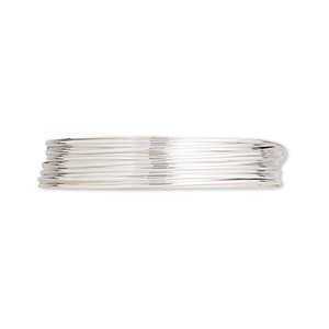 wire, argentium silver, half-hard, round, 22 gauge. sold per pkg of 25 feet.