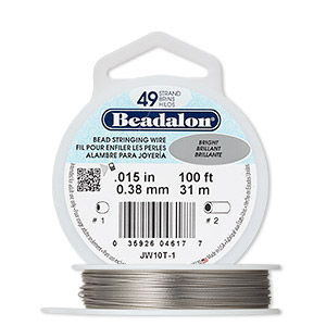wire, beadalon, nylon and stainless steel, bright, 49 strand, 0.015-inch diameter. sold per 100-foot spool.