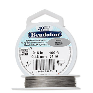 wire, beadalon, nylon and stainless steel, bright, 49 strand, 0.018-inch diameter. sold per 100-foot spool.